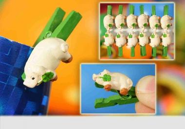 12er Set Glücksschweinchen-Klammer