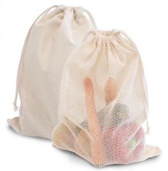 """Zuziehbeutel """"Big"""" mit Netz aus 100% Baumwolle"""