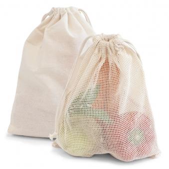 """Zuziehbeutel """"SMALL"""" mit Netz aus 100% Baumwolle"""