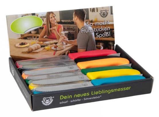 Displaybox gefüllt mit Schneidebär® Frühstücksmessern