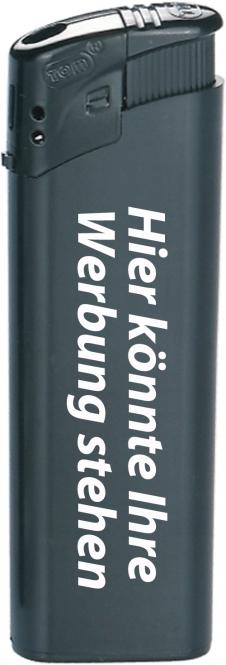TOM Elektronik-Feuerzeug Schwarz | mit Druck