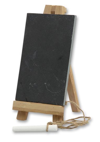 Schiefer Tischtafel mit Bambusständer aus echtem Schiefer